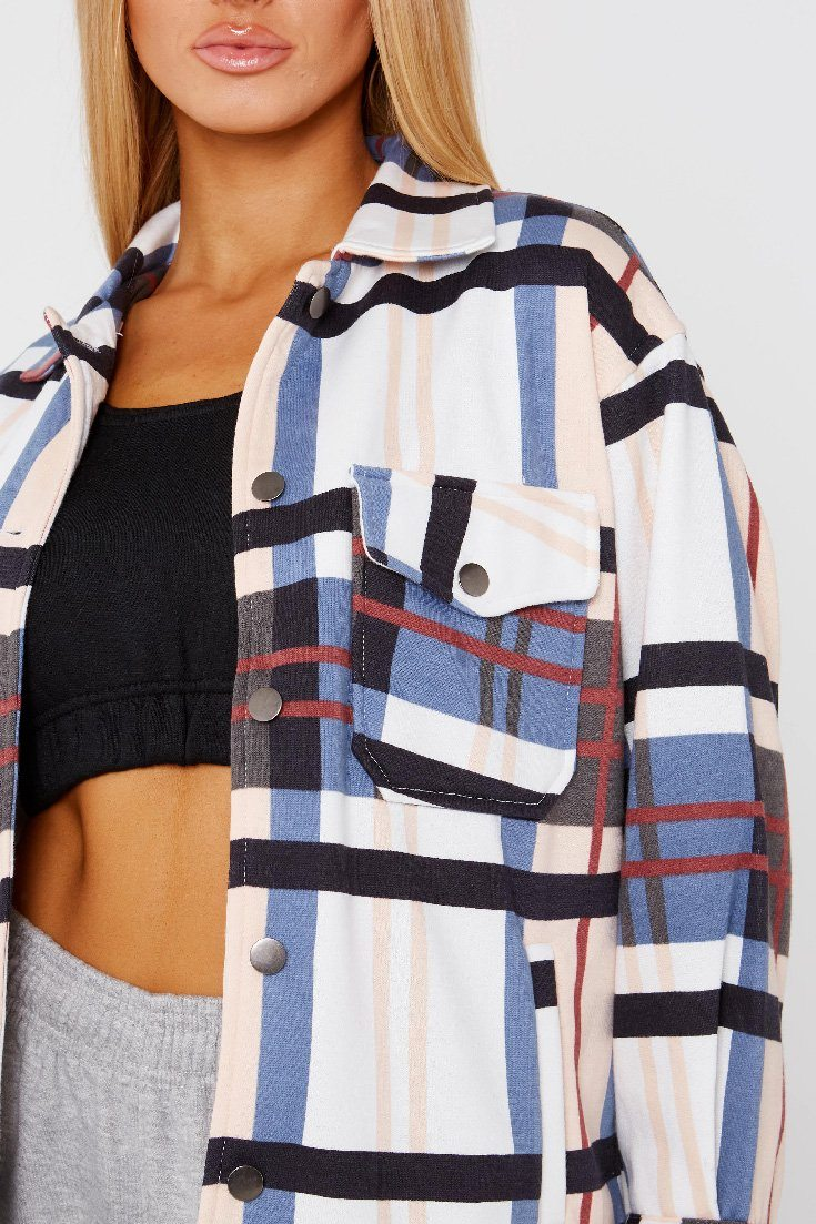 Blue Oversized Checked Shacket