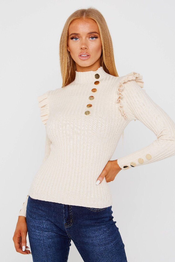 Beige Ribbed Frill Top