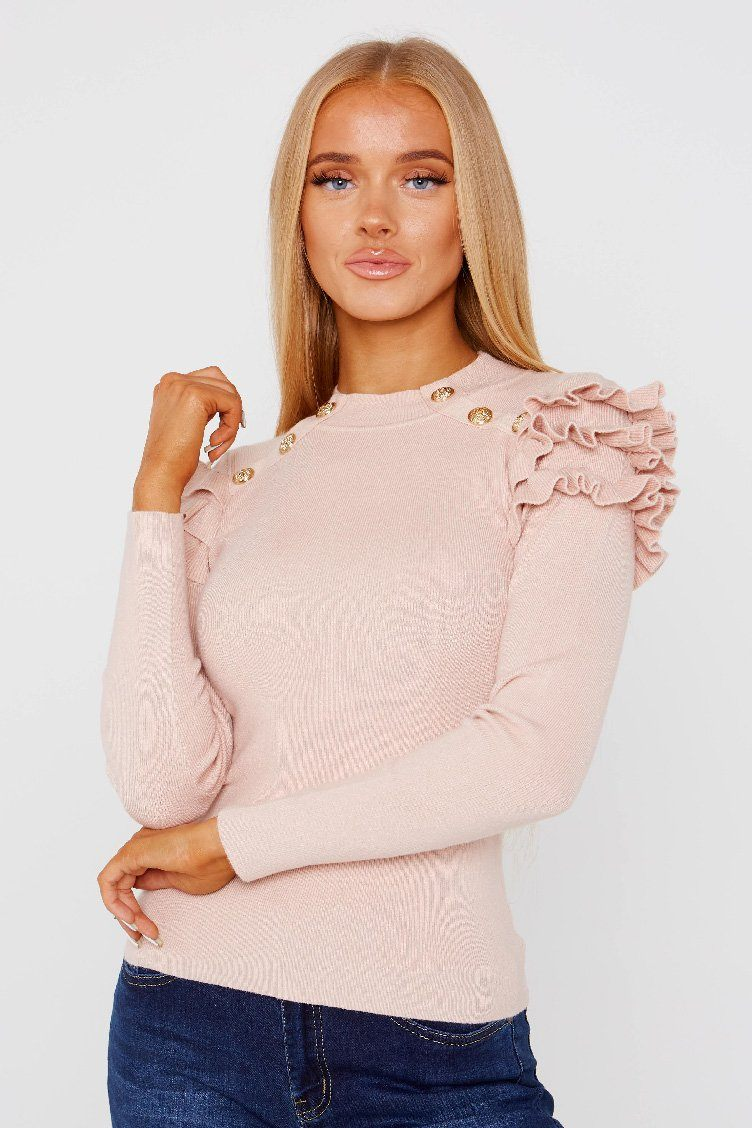Ribbed Frill Shoulder Button Top