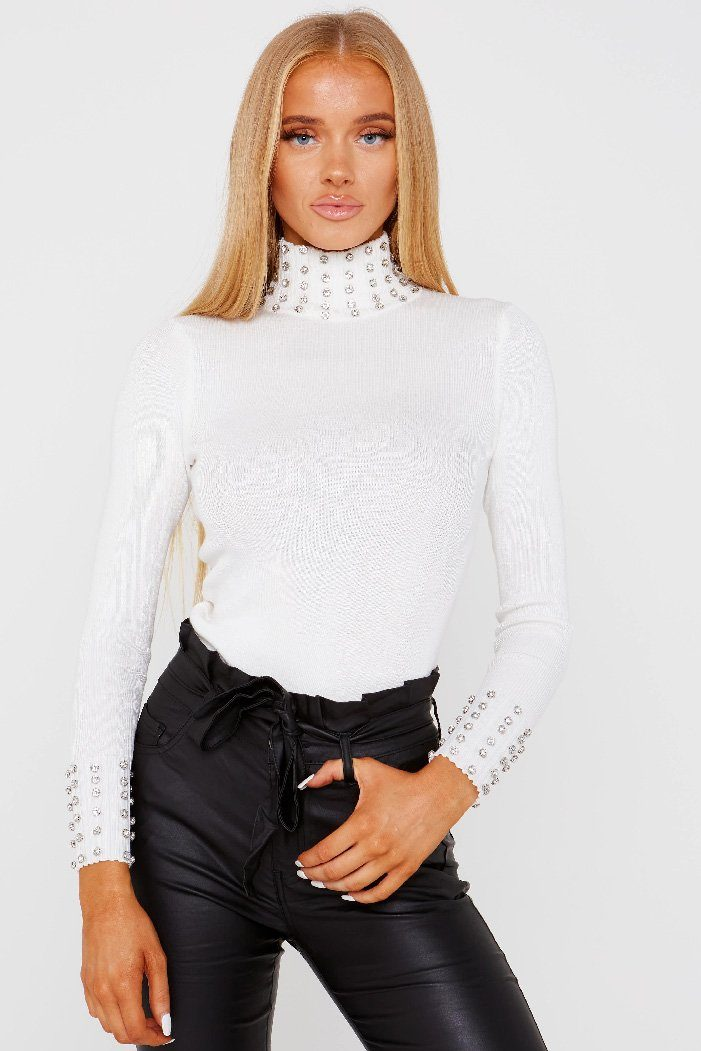 Diamonte Roll Neck White Jumper