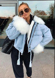 White Faux Fur Denim Jacket