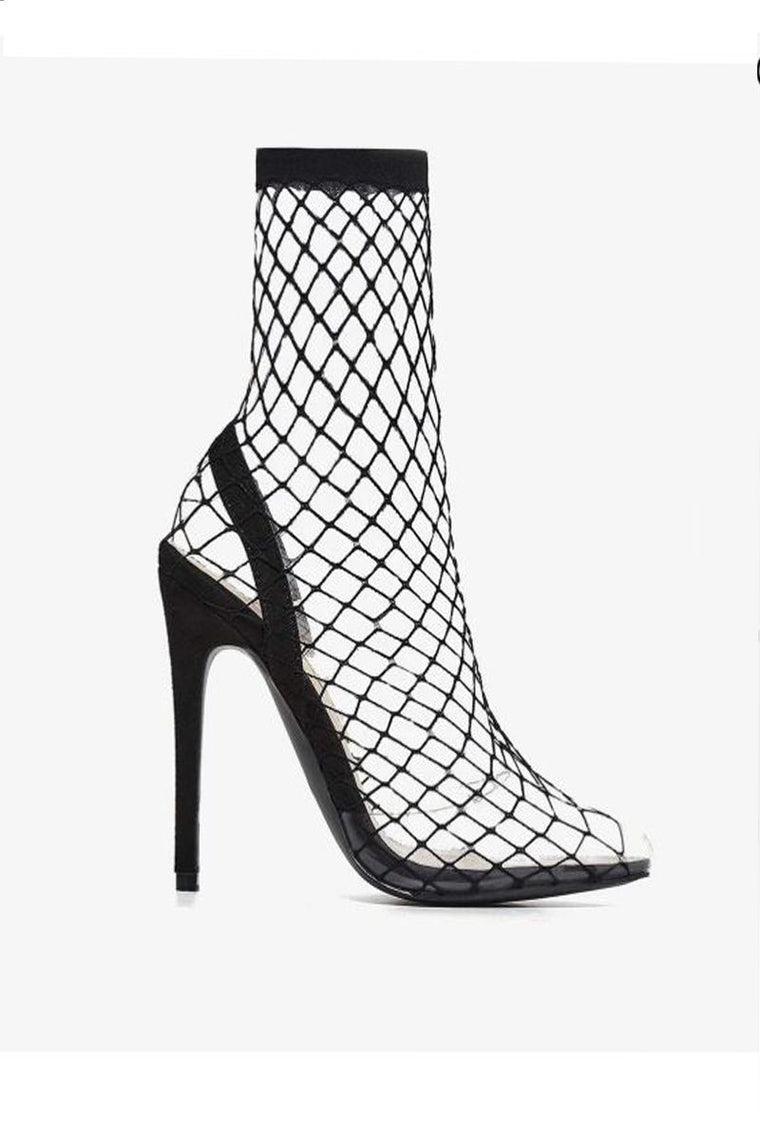 Fishnet Perspex Heel In Black Faux Suede