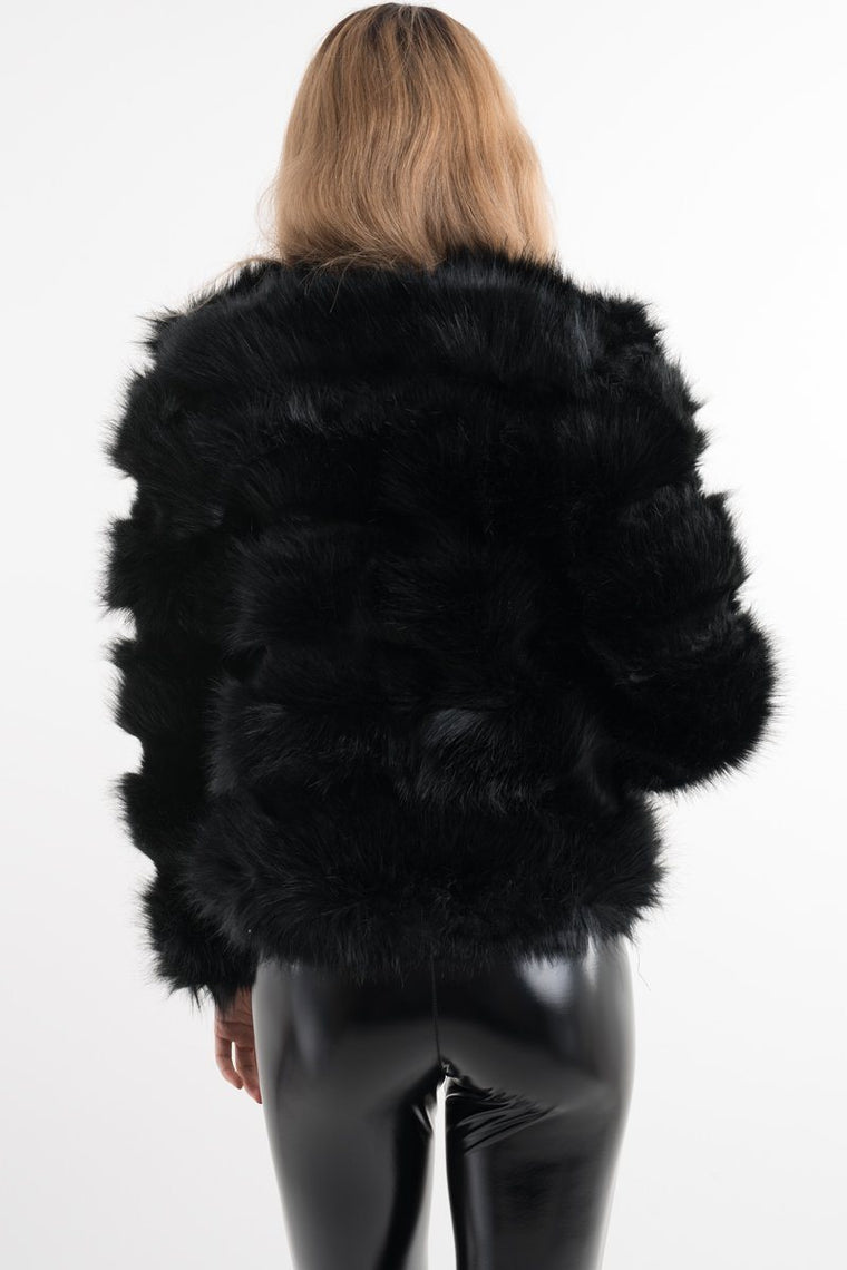 Black Faux Fur Jacket Zara
