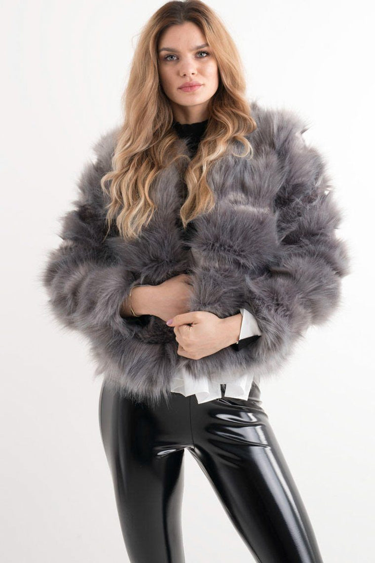 GREY FAUX FUR JACKET ZARA