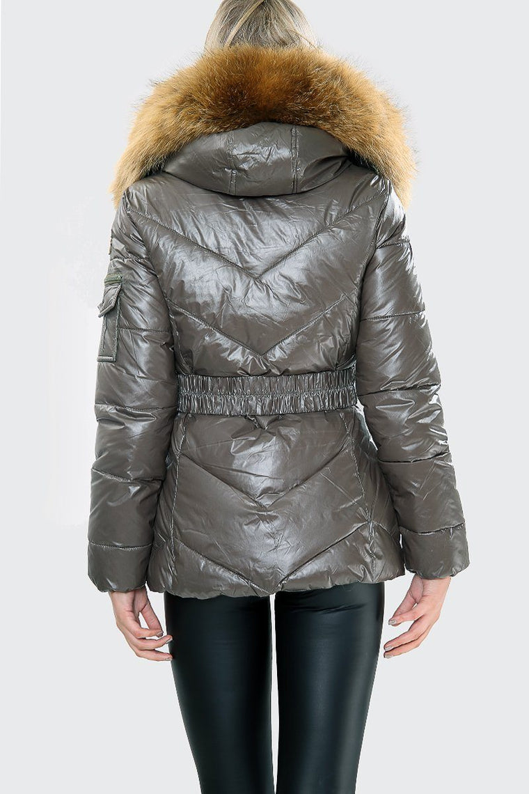 Karki Wet Look Natural Fur Hood Puffa Jacket