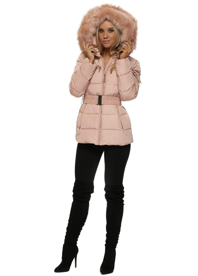 Nude Pink Quilted  Fur Hooded Puffer Jacket
