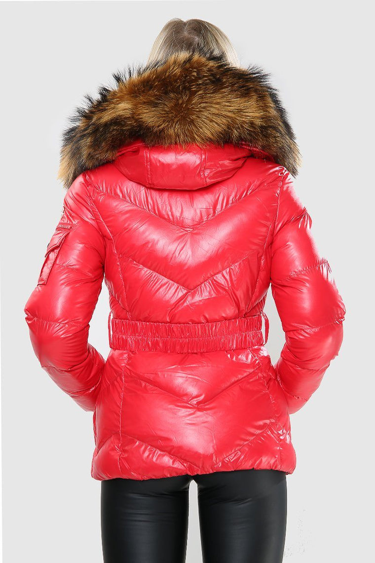 Red Wet Look Natural Fur Hood Puffa Jacket
