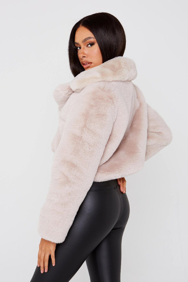 Crop Beige Faux Fur Jacket