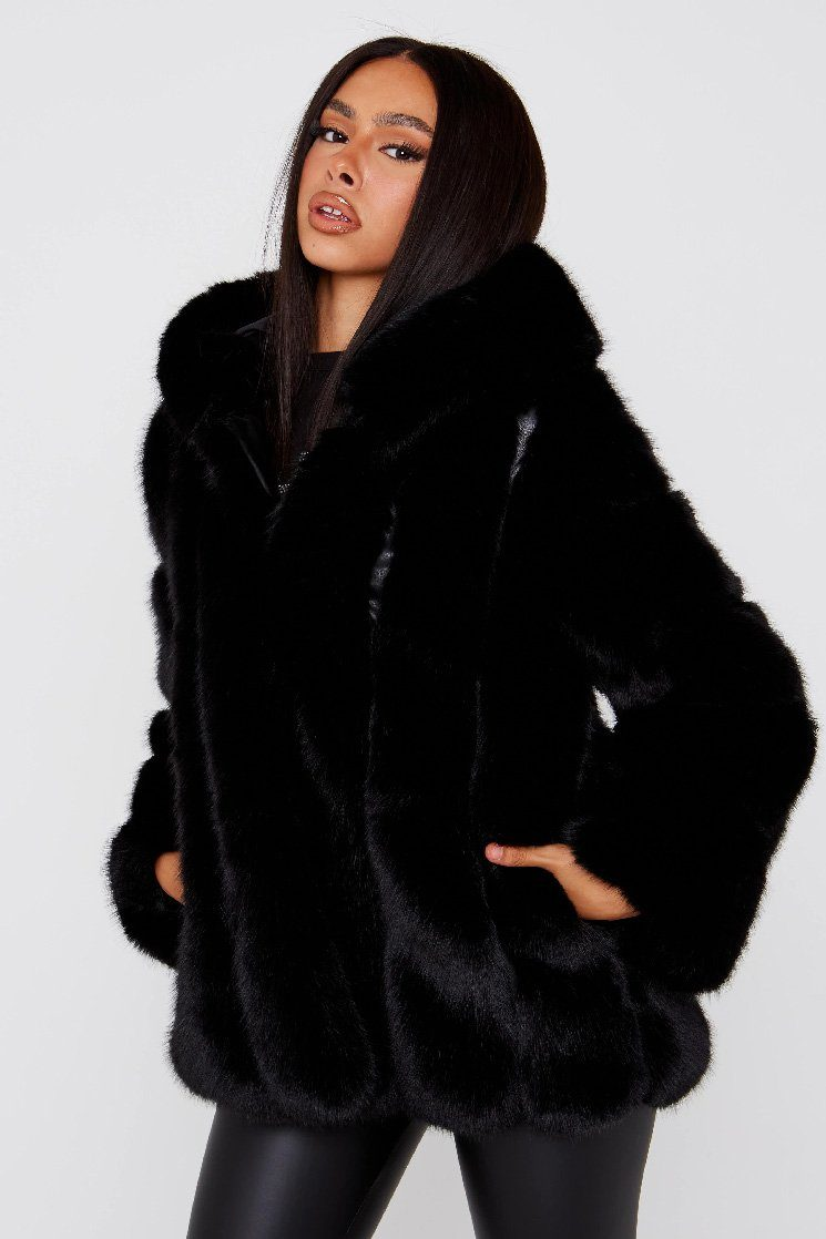 faux fur Black Hooded Coat