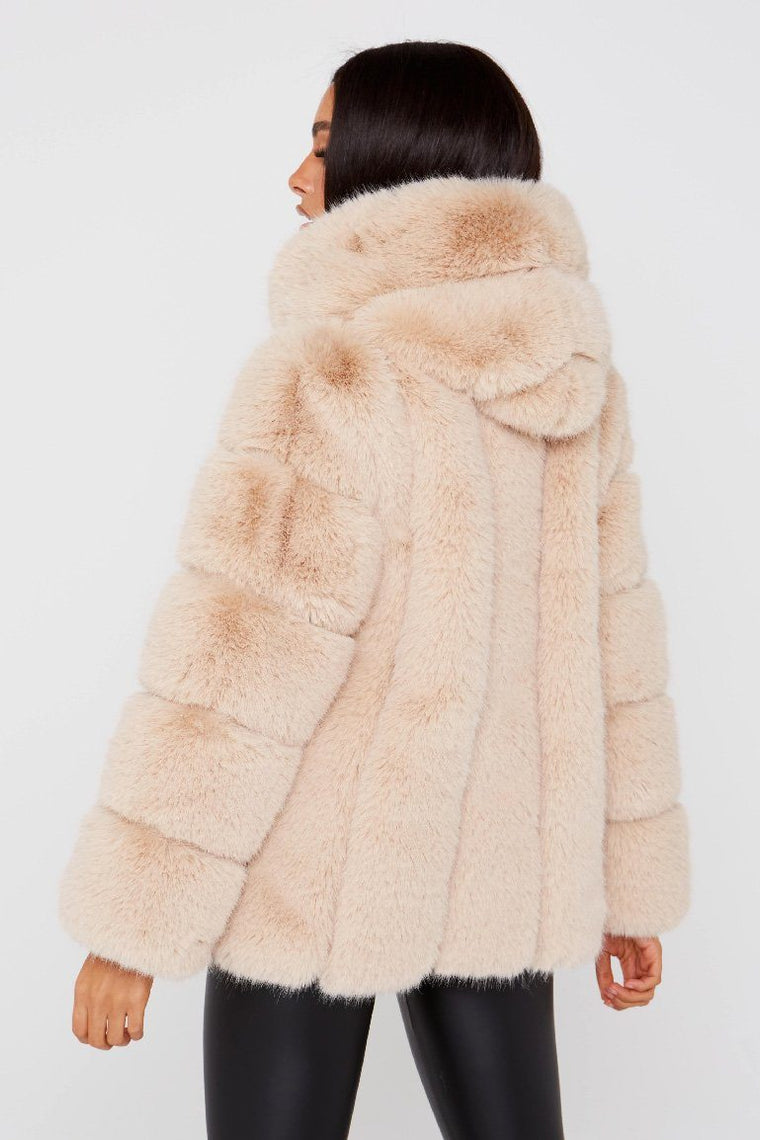 Faux Fur Hooded Beige Coat