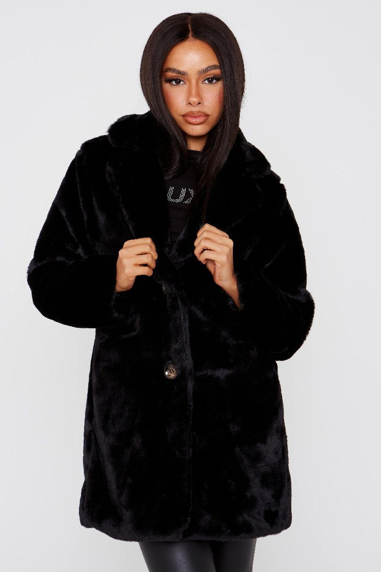 Black Faux Fur Teddy Coat