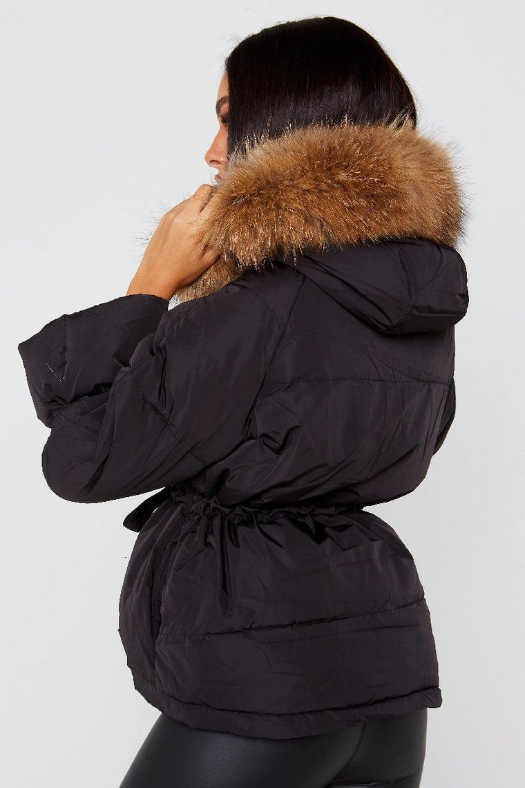Natural Fur Black Short Hooded Parka Jacket