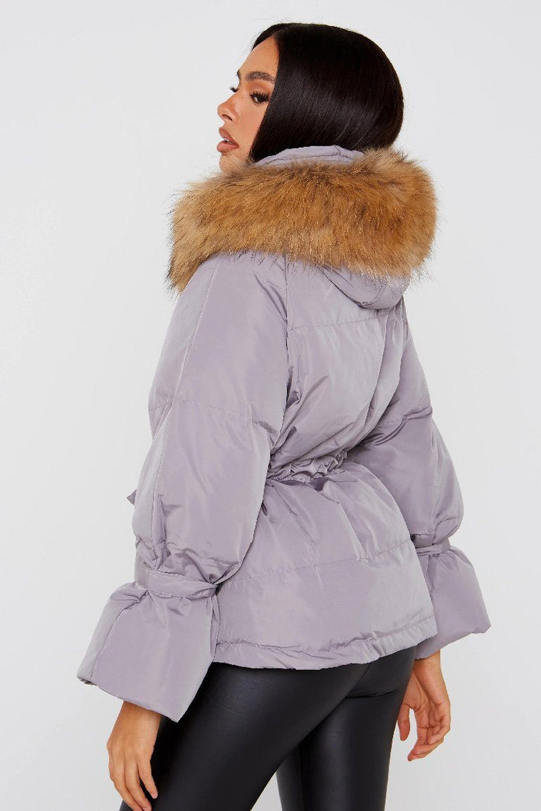 Natural Fur Grey Short Hooded Parka Jacket