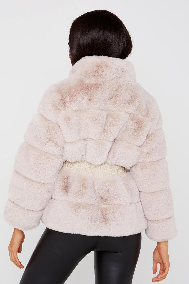 Beige Faux Fur Zip Up Jacket