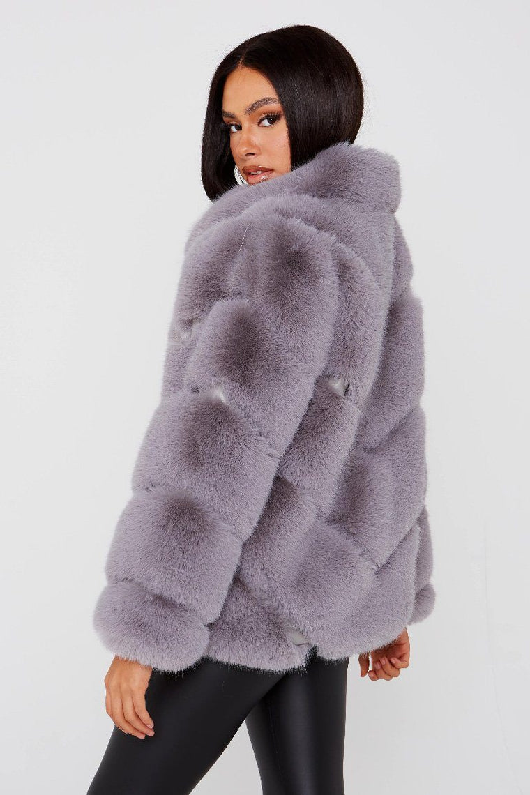 Five Row Faux Fur Grey Coat