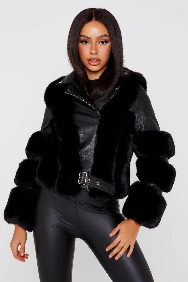 Black Faux Fur and Vegan Leather Jacket