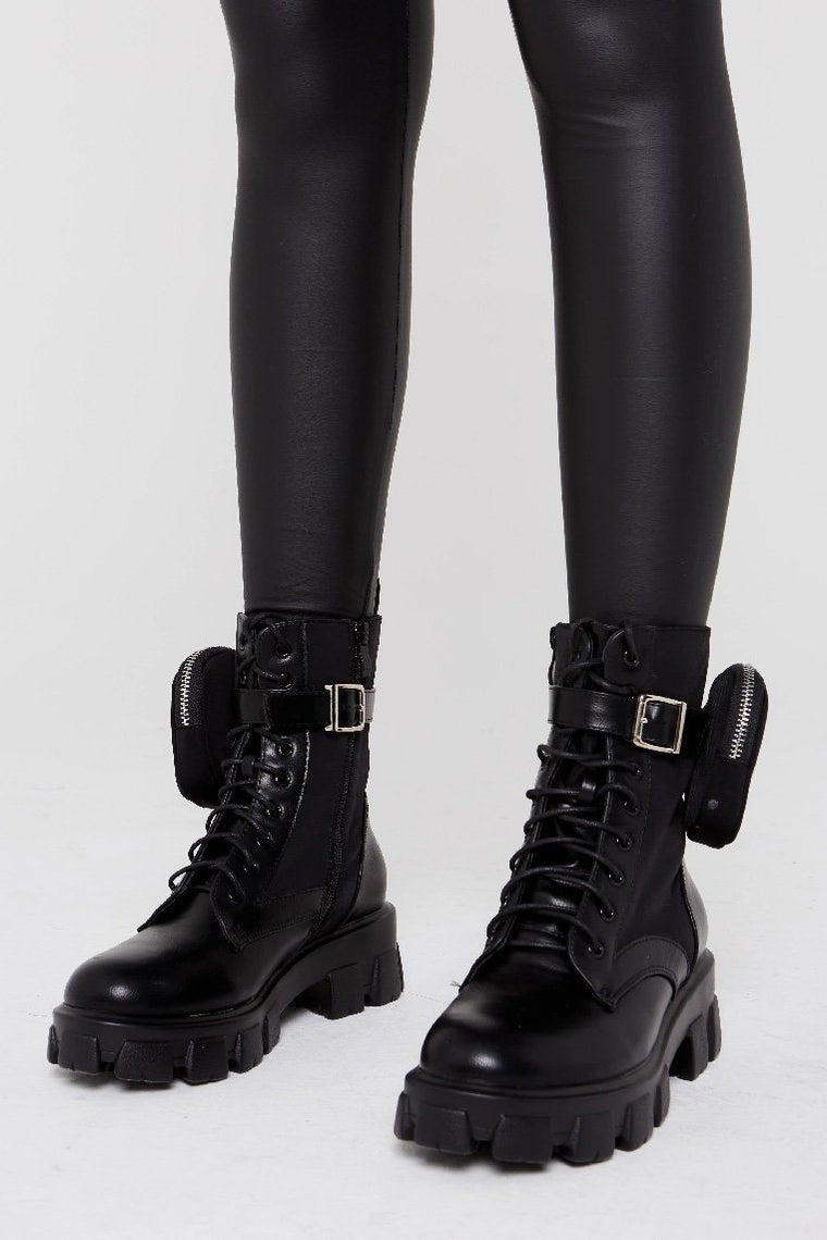 Chunky Sole Black Biker Ankle Lace up Boot - Molly