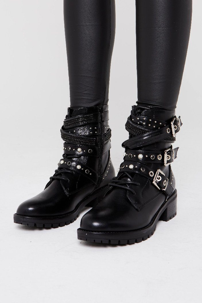 Buckle Strap Ankle Biker Boot - Isla
