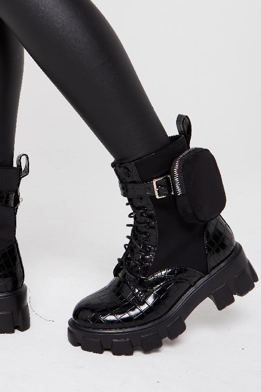 Chunky Sole Ankle Biker Boot Pocket In Black Croc - Ava