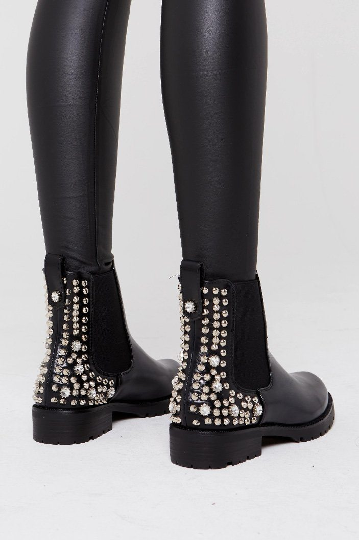 Diamante Detail Chunky Ankle Boot - Emily
