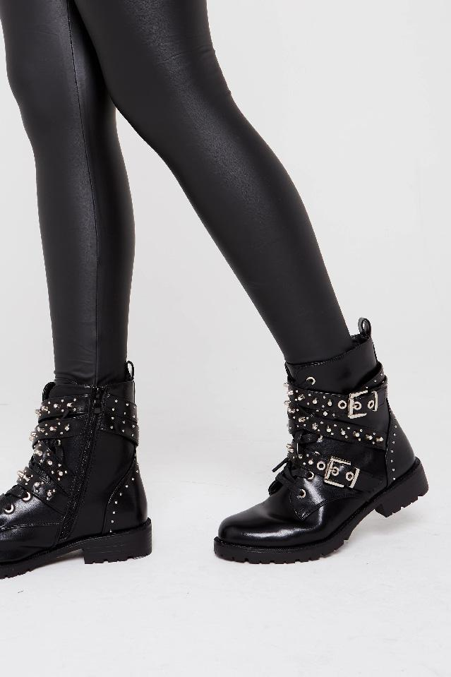 Diamante Stud Detail Ankle Biker Boot - Grace