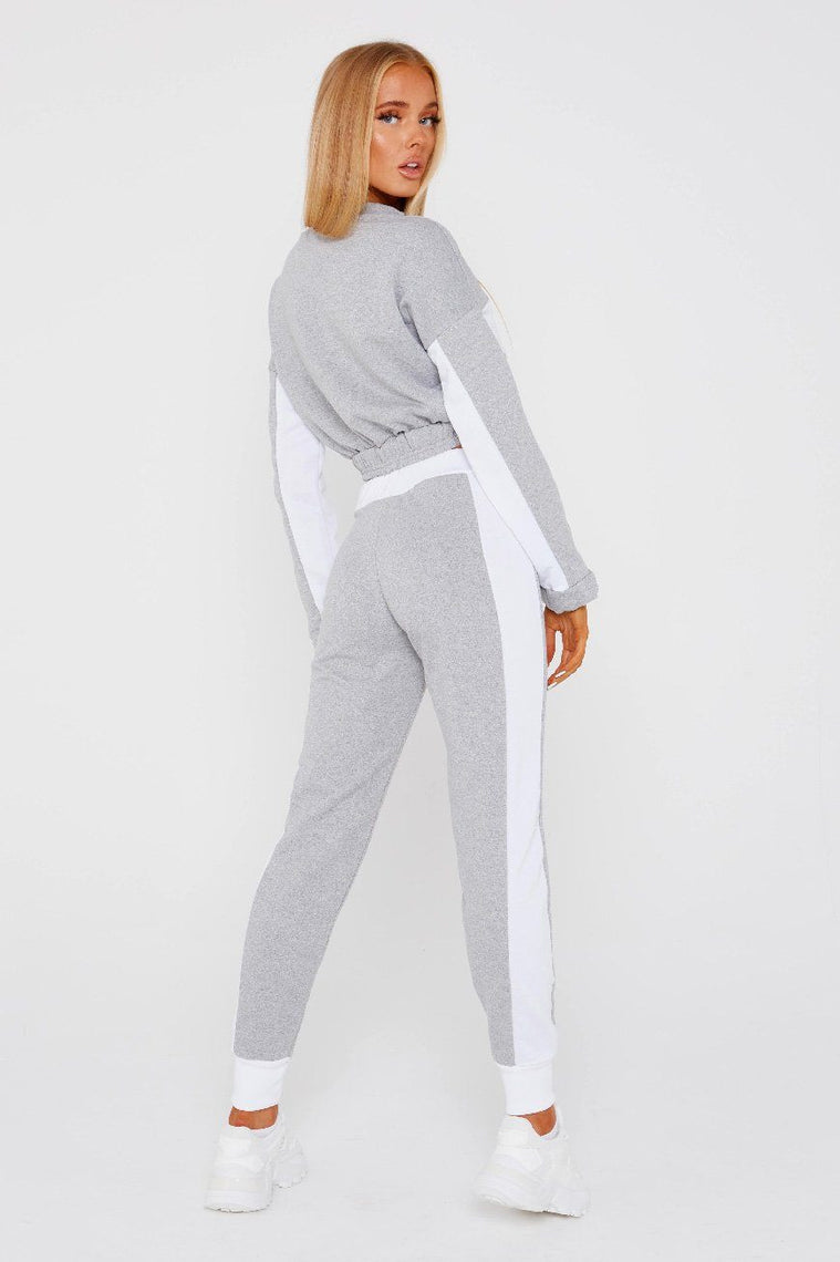 Grey Cropped Sweatshirt Loungewear Set - Amelia