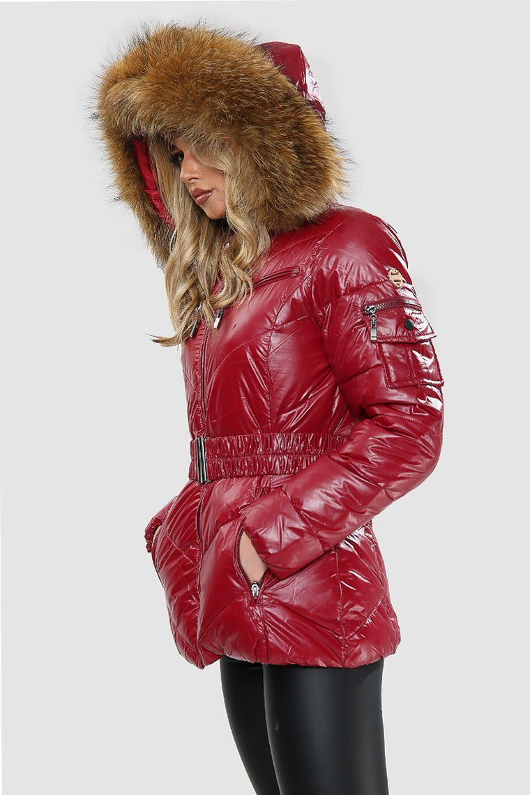 Wine Wet Look Natural Fur Hood Puffa Jacket