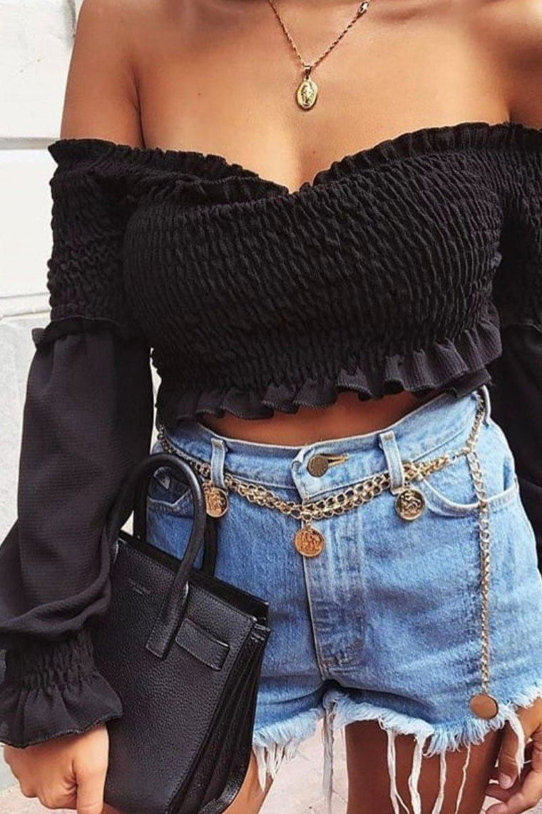 Black Off The Shoulder Crop Top 'Leah'