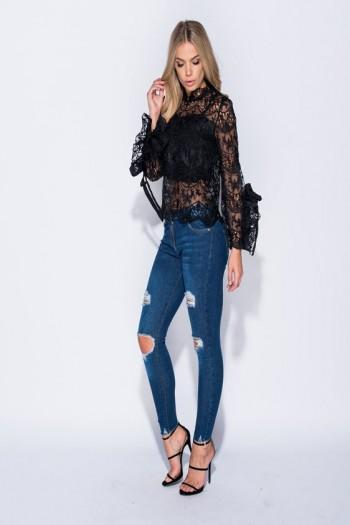 Nia Black Lace Tie Sleeve Top