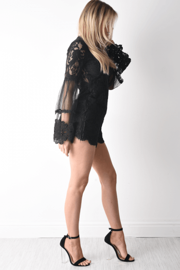Bonnie Black Sheer Lace Trim Playsuit