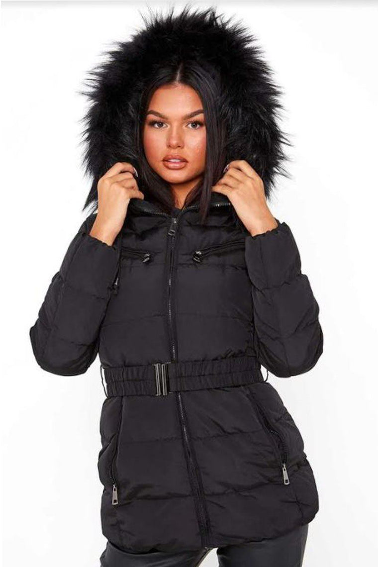 Black Belted Quilted Fur Hood Puffer Jacket
