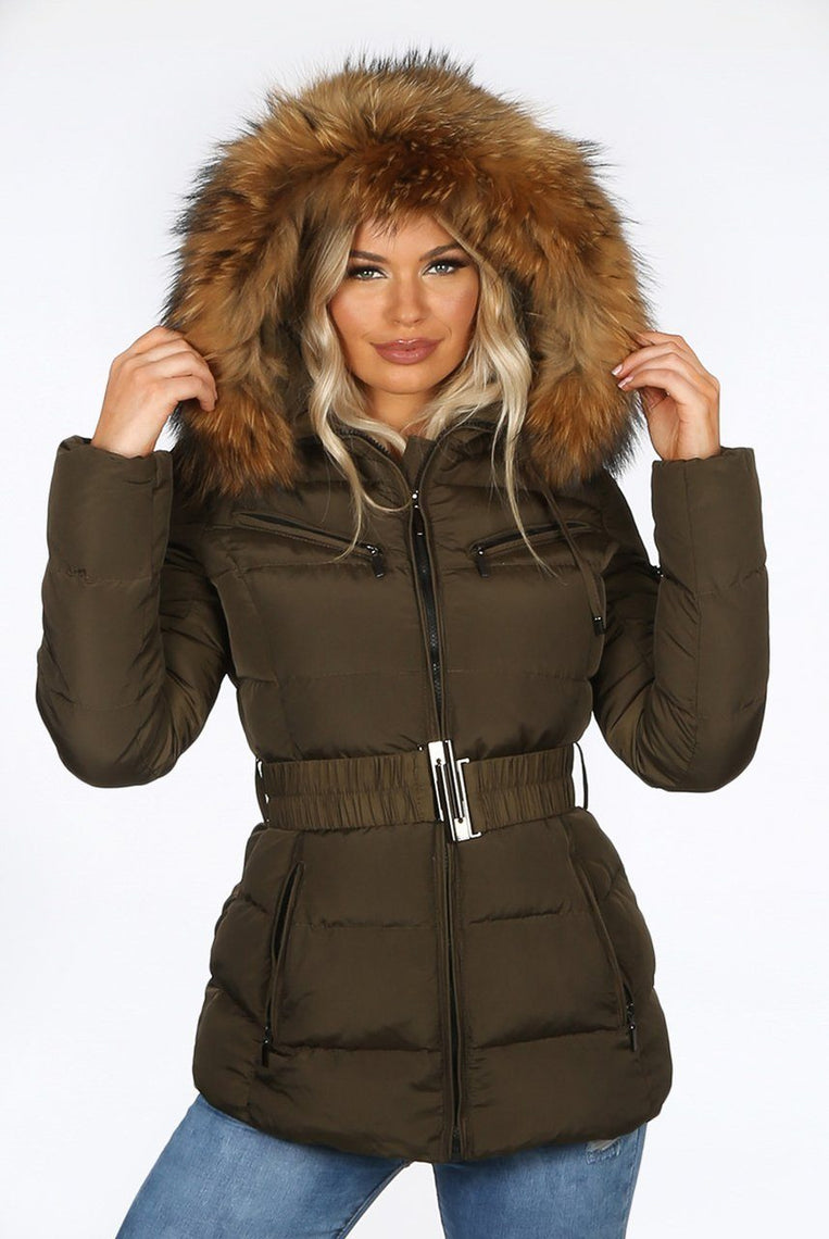 KHAKI GREEN QUILTED FUR HOOD  PUFFER  JACKET -Alex
