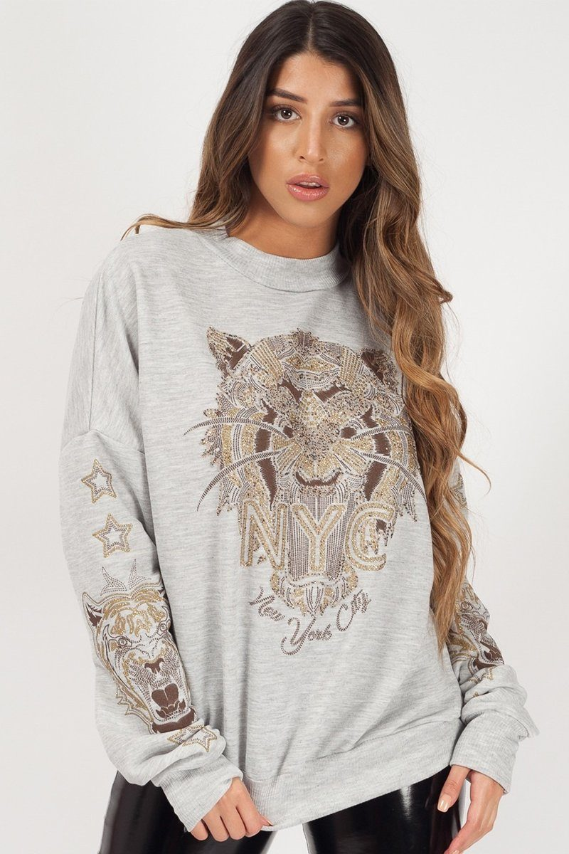 GREY TIGER FACE PRINTED SWEATSHIRT JUMPER