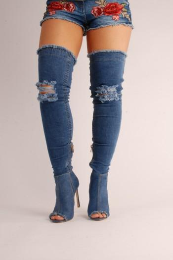 Kenna Denim Over the knee Boots