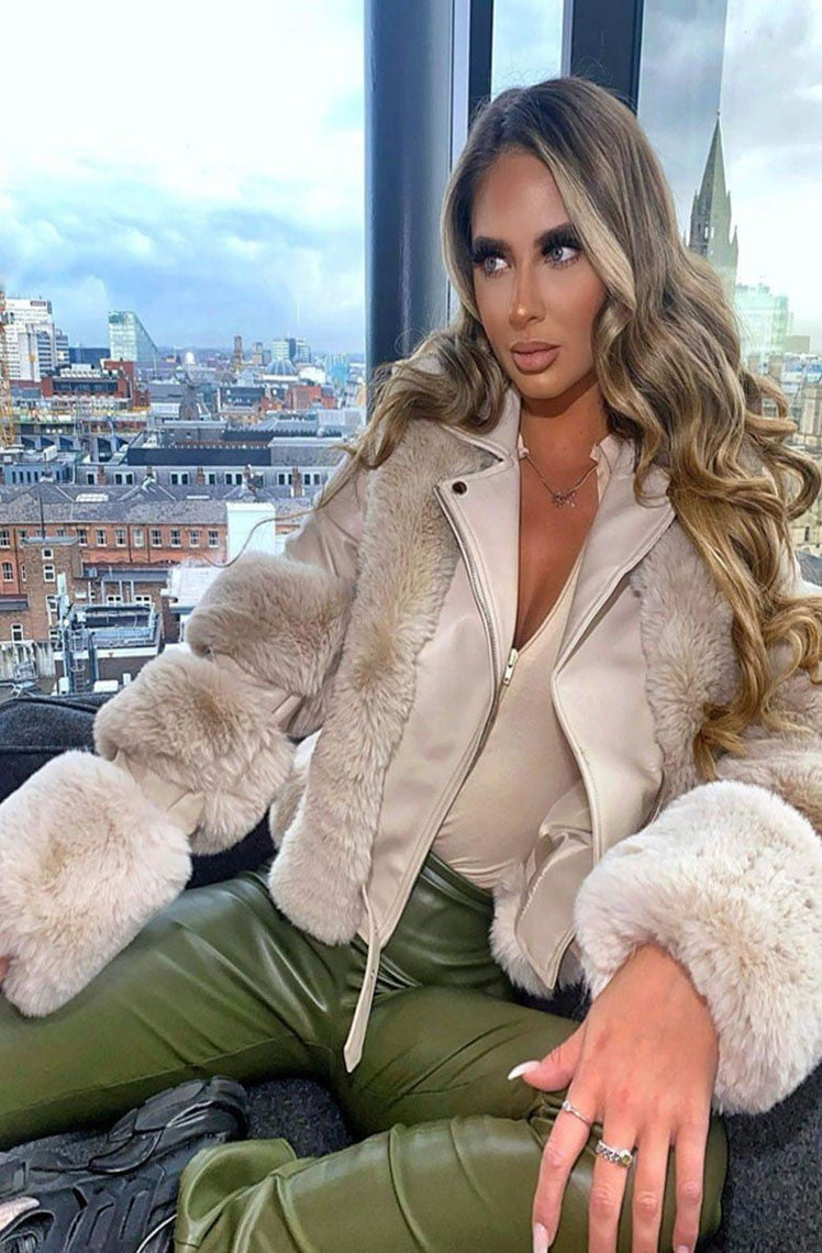Beige Faux Fur and Vegan Leather Jacket