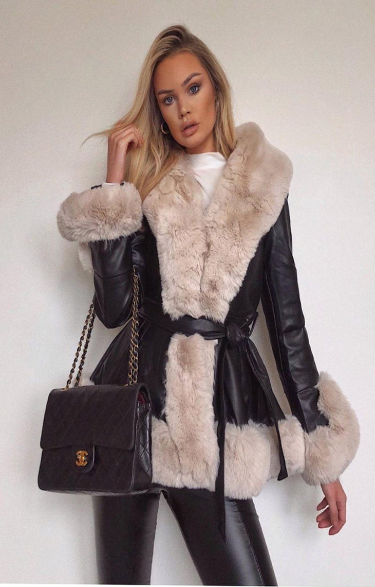 beige faux fur black belted short coat