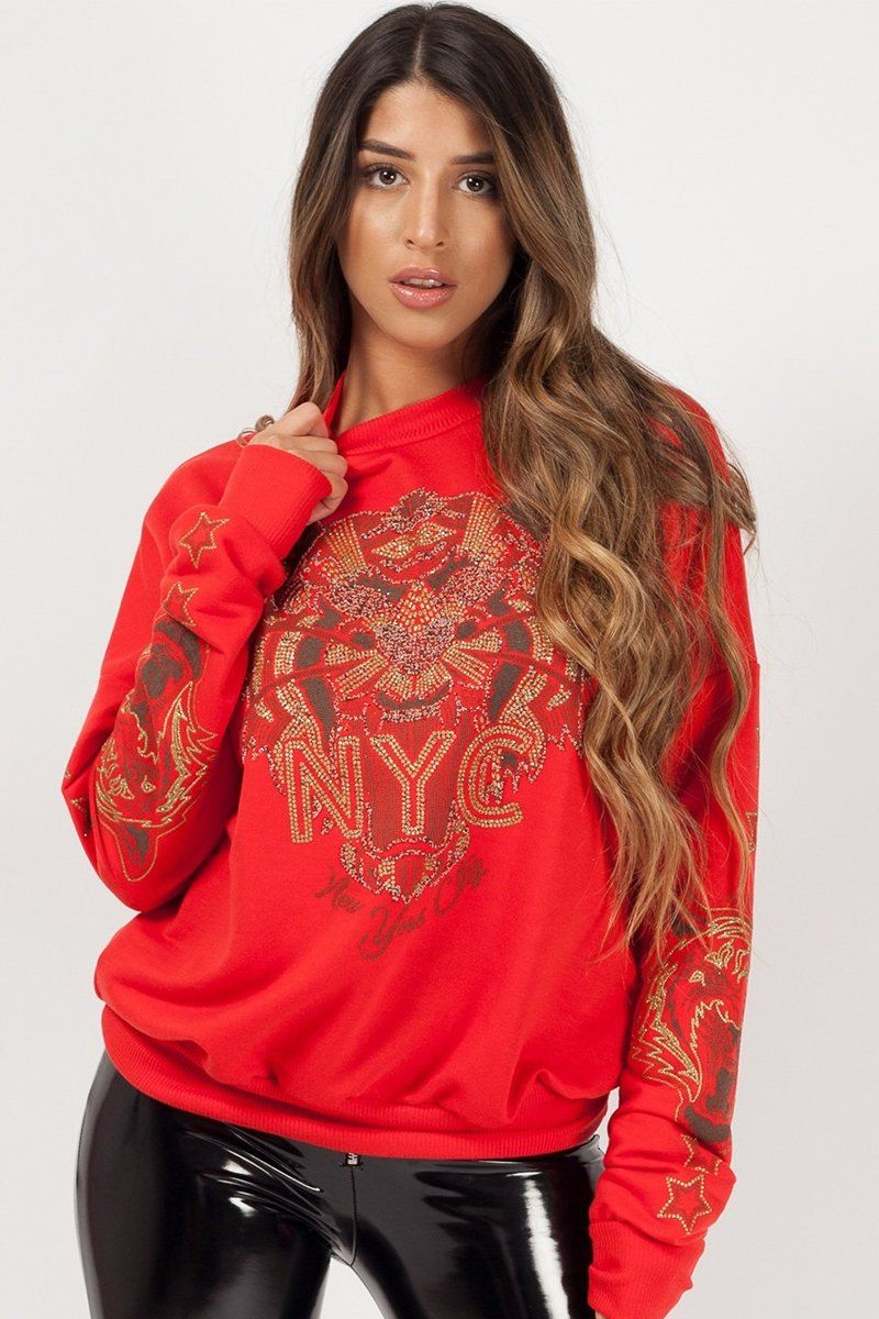 Red Tiger Face Sweat Shirt Jumper