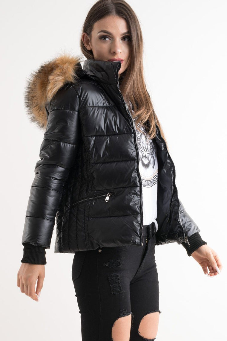 Black Shiny Fur Hood Puffa Jacket