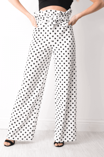 Finn Polca Dot White Paper Bag Trousers
