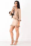 Isobelle Suede Camel Two Piece Frill Suit