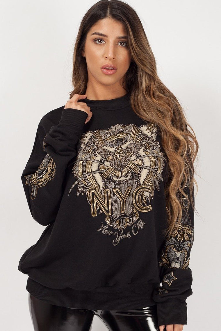 Black Tiger Face Sweat Shirt Jumper