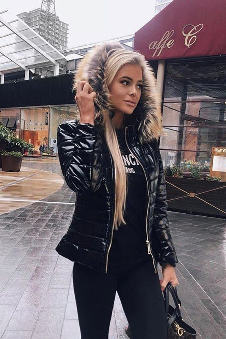 Black Shiny Wet Look Hooded Puffer Coat