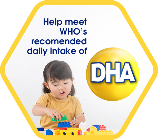 Help meet WHO's recommended daily intake of DHA - a girl playing with building blocks