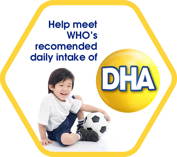 Help meet WHO's recommended daily intake of DHA - a boy holding a football
