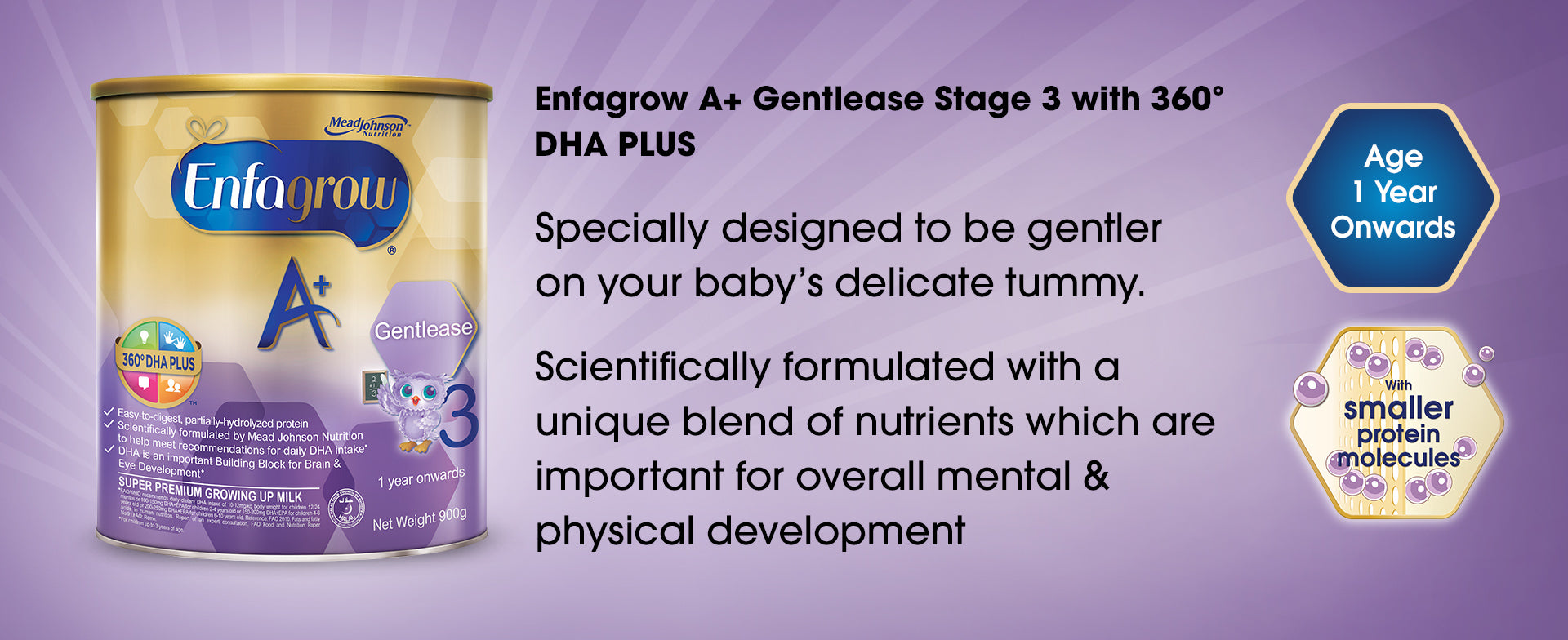 Enfagrow A+ Gentlease Stage 3 with 360 degrees DHA PLUS - a product banner image with basic information