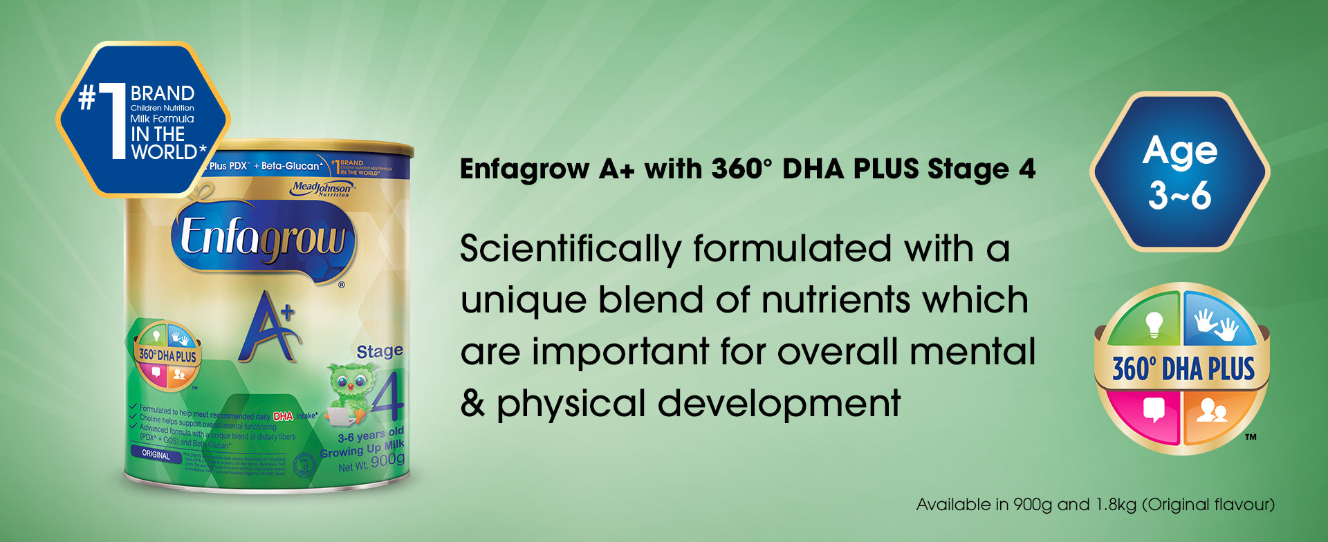 Enfagrow A+ with 360 degrees DHA PLUS Stage 4 - a product banner image with basic information