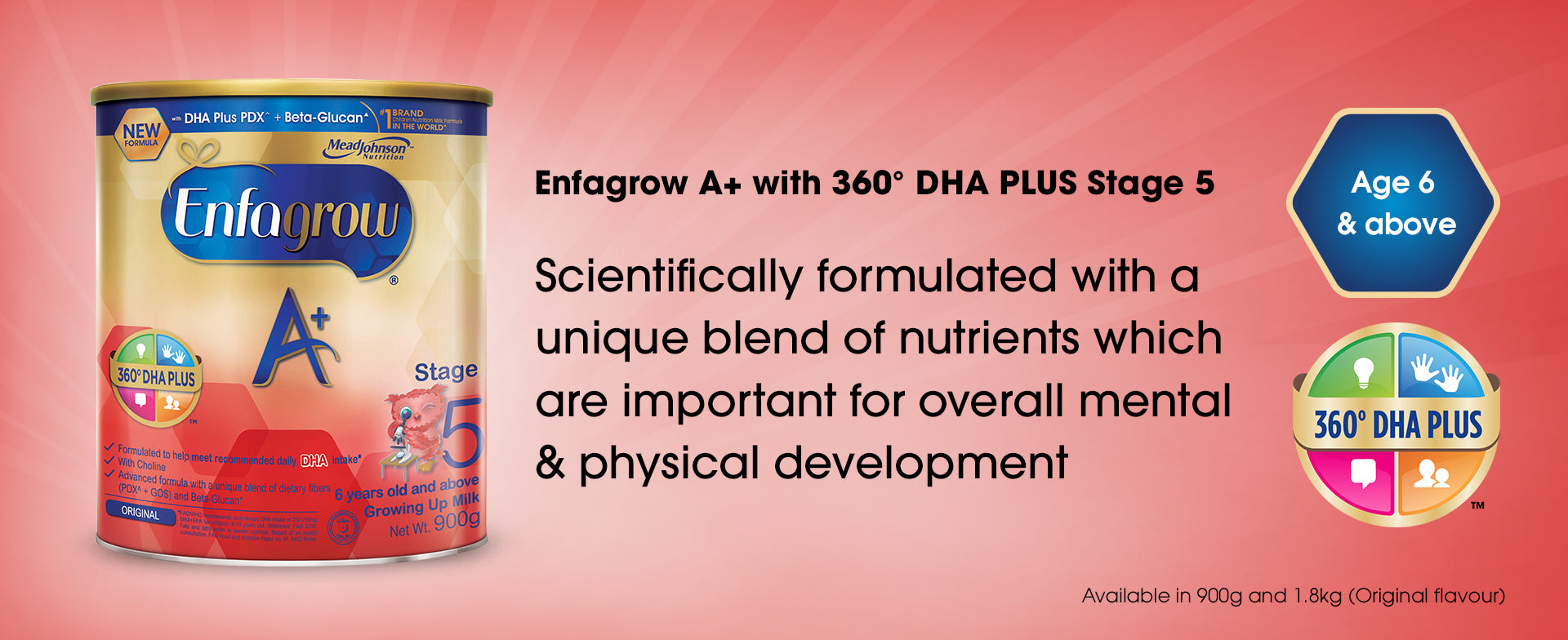 Enfagrow A+ with 360 degrees DHA PLUS Stage 5 - a product banner image with basic information
