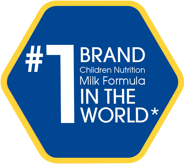 #1 Brand in the World, Children Nutrition Milk Formula - a hexagonal logo
