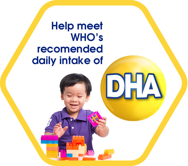 Help meet WHO's recommended daily intake of DHA - a boy playing with building blocks