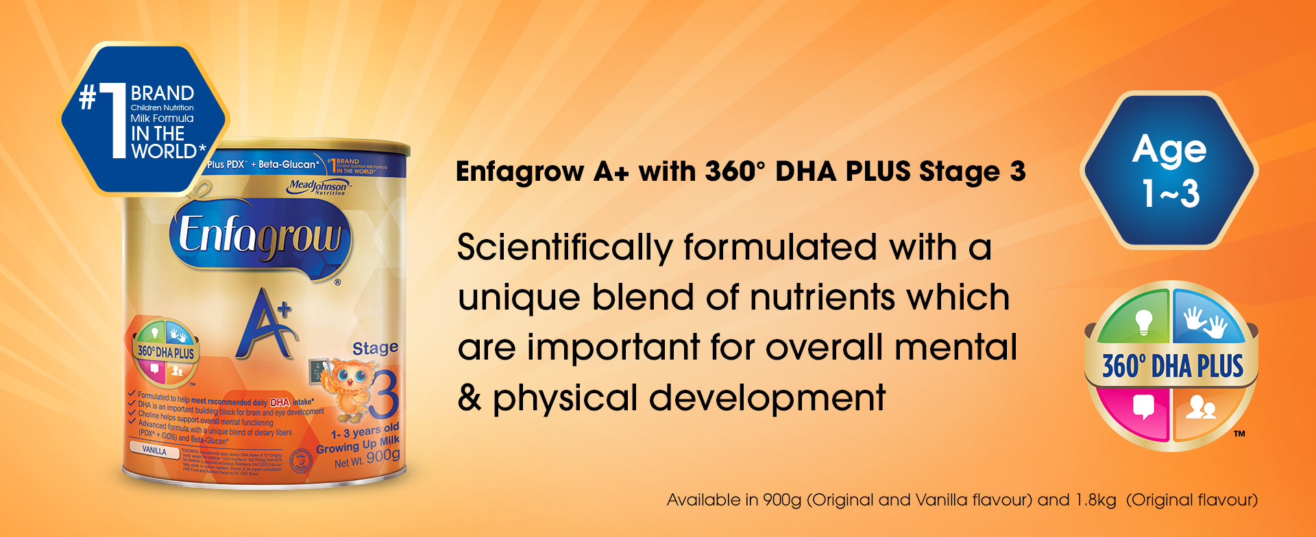 Enfagrow A+ with 360 degrees DHA PLUS Stage 3 - a product banner image with basic information